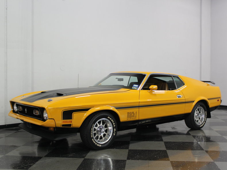 medium yellow gold 1971 ford mustang mach 1 for sale mcg. Black Bedroom Furniture Sets. Home Design Ideas