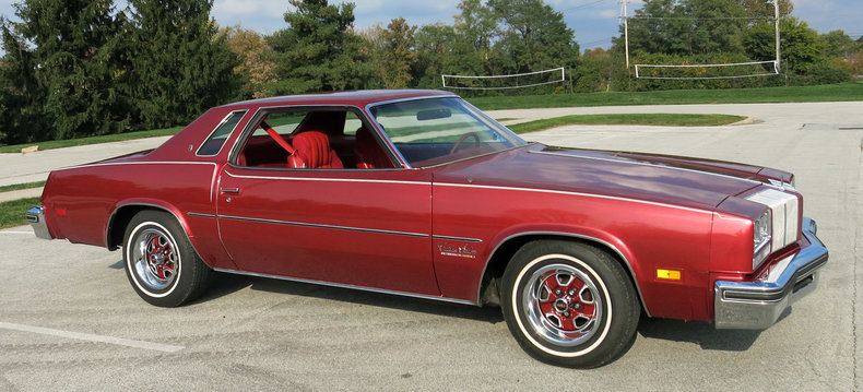Fiesta red 1977 oldsmobile cutlass salon for sale mcg for 1977 olds cutlass salon for sale