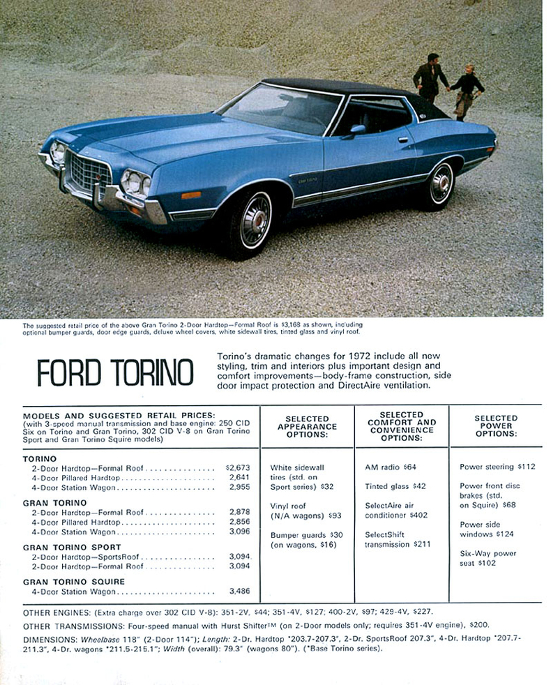 1972 torino specs, colors, facts, history, and performance