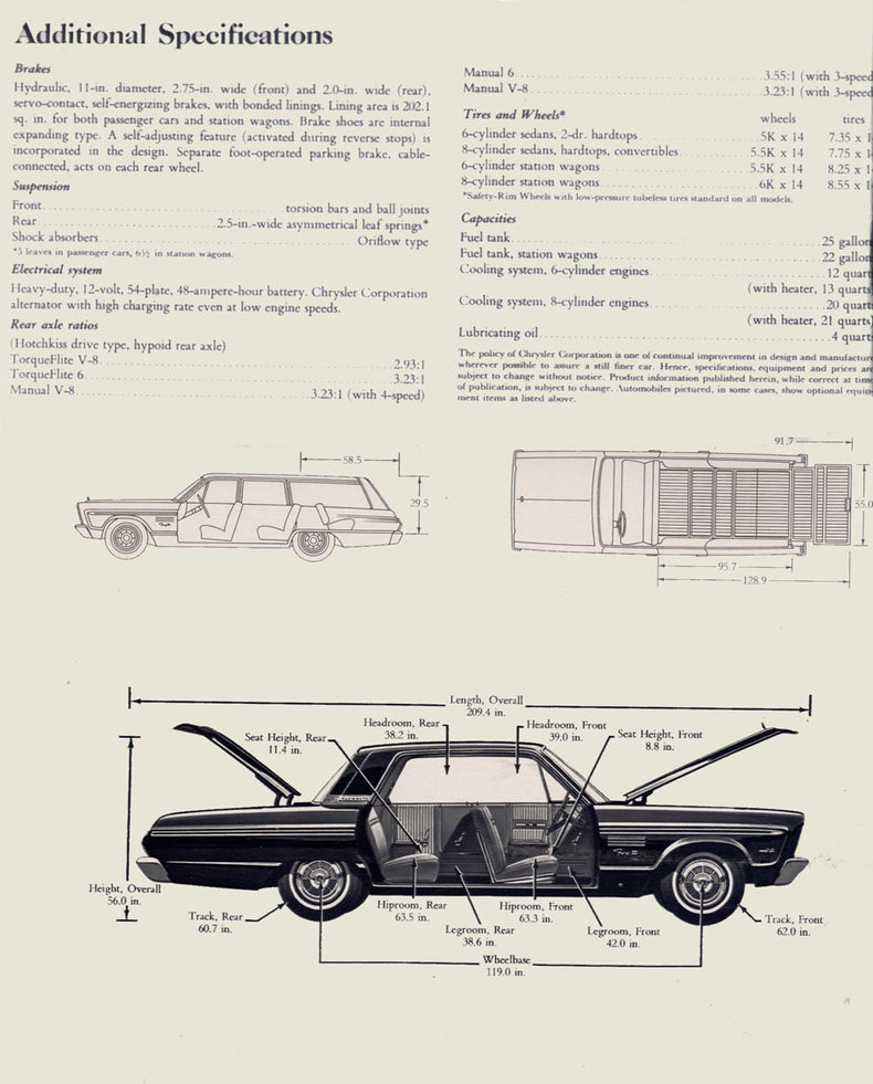 1965 plymouth fury specs