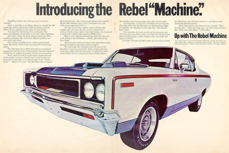 1970 amc rebel machine my classic garage. Black Bedroom Furniture Sets. Home Design Ideas
