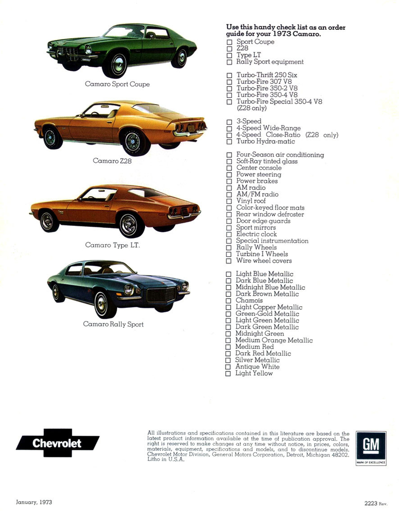 Camaro Specs Colors Facts History And Performance - 1969 camaro paint codes colors