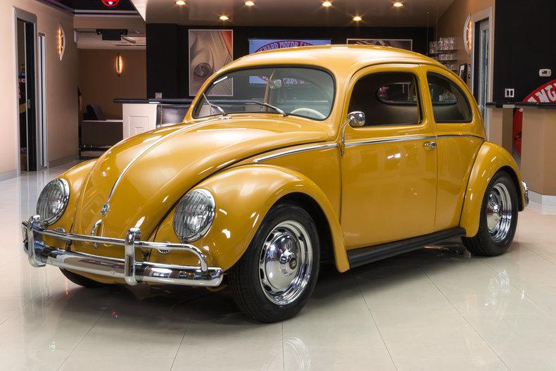 yellow 1956 volkswagen beetle for sale mcg marketplace. Black Bedroom Furniture Sets. Home Design Ideas