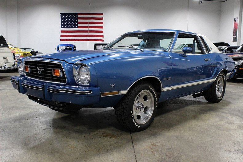 silver blue metallic 1976 ford mustang ii for sale mcg marketplace. Black Bedroom Furniture Sets. Home Design Ideas