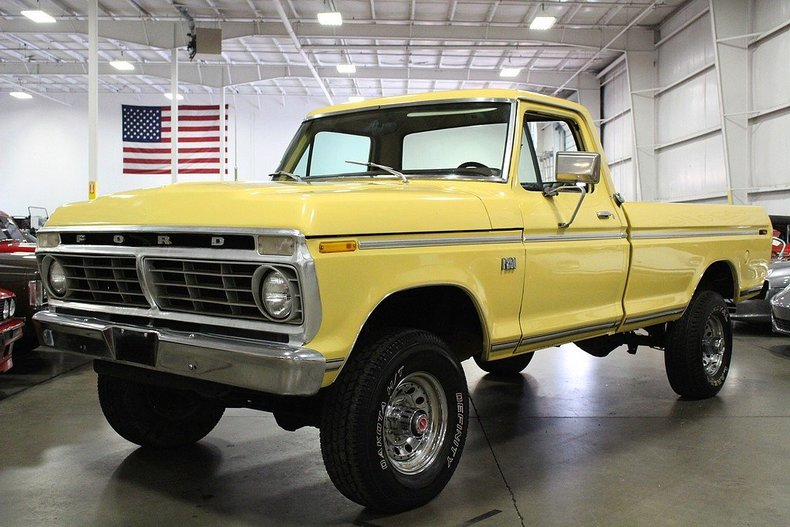 canary yellow 1975 ford f250 for sale mcg marketplace. Black Bedroom Furniture Sets. Home Design Ideas