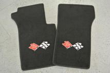 10003 1963-67 Chevrolet Corvette C2 2 Piece Floor Mats Set Crossed Flags Embroidery MADE IN THE USA