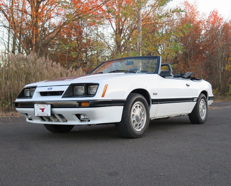 white 1985 ford mustang gt convertible for sale mcg marketplace. Black Bedroom Furniture Sets. Home Design Ideas