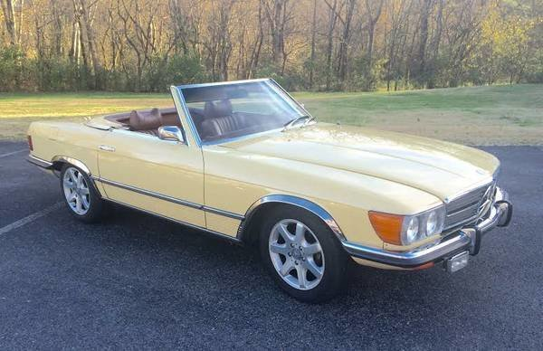 butternut yellow 1973 mercedes benz 450 sl for sale mcg marketplace. Black Bedroom Furniture Sets. Home Design Ideas