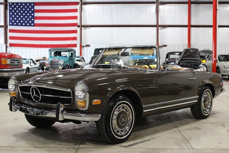 Havana brown 1968 mercedes benz 280 sl for sale mcg for Garage mercedes bron