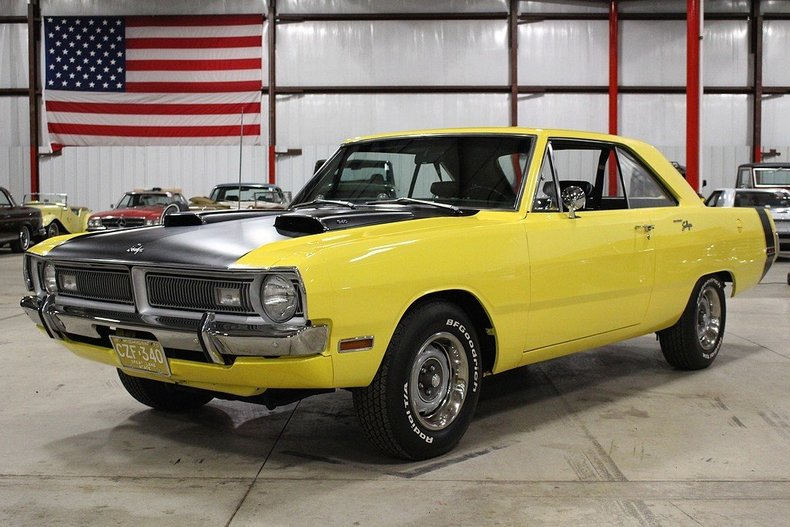 bright yellow 1970 dodge dart swinger for sale mcg. Black Bedroom Furniture Sets. Home Design Ideas