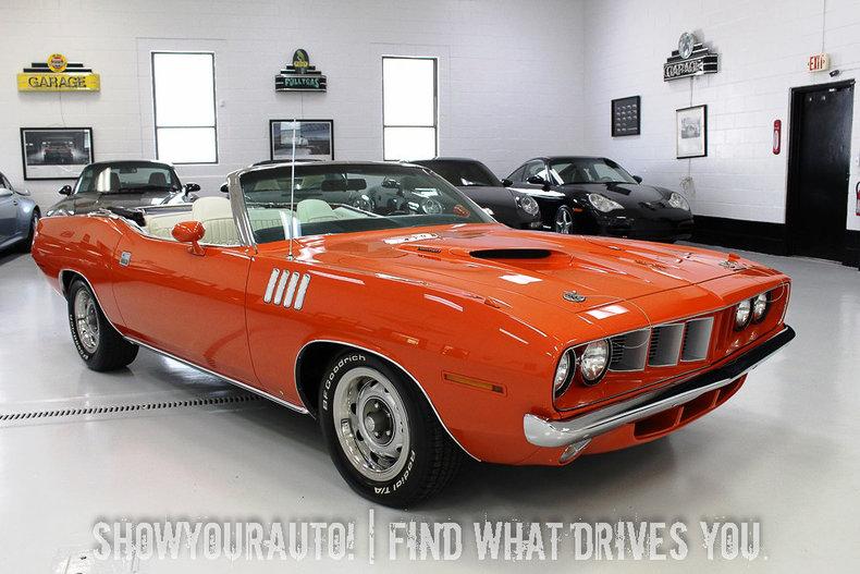 Hemi orange 1971 plymouth 39 cuda for sale mcg marketplace for Garage auto orange