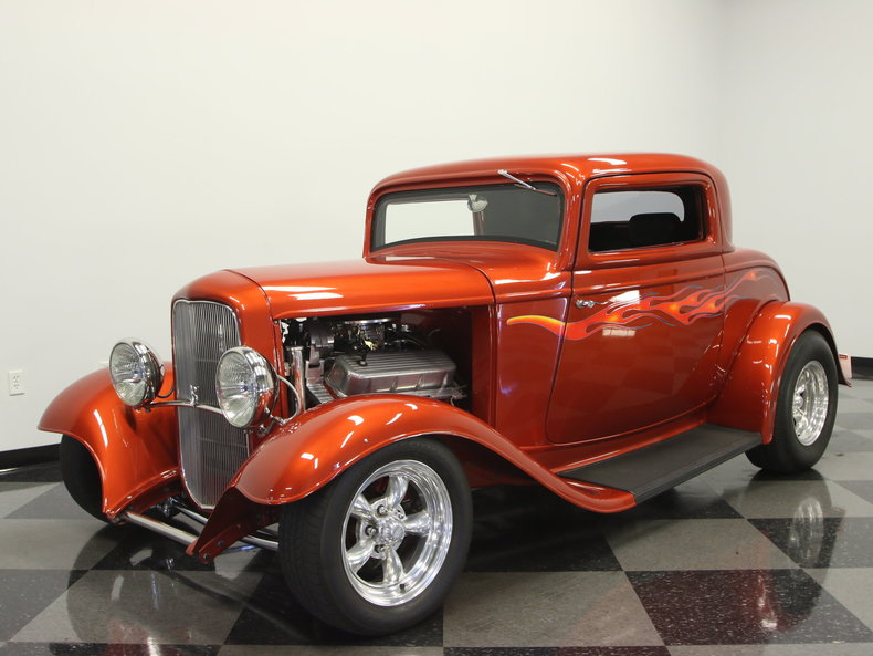 Orange pearl 1932 ford 3 window for sale mcg marketplace for Garage ford orange