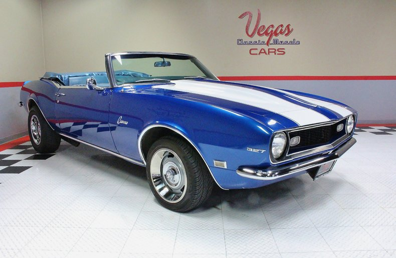 Chevy Dealers In Ma >> Blue 1968 Chevrolet Camaro Convertible For Sale | MCG ...