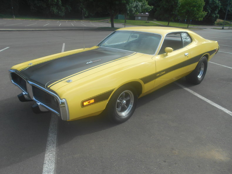 yellow 1973 dodge charger for sale mcg marketplace. Black Bedroom Furniture Sets. Home Design Ideas