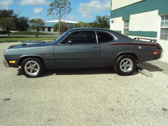 gun metal gray 1973 plymouth duster for sale mcg marketplace. Black Bedroom Furniture Sets. Home Design Ideas
